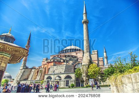 ISTANBUL TURKEY - MAY 5 2017: Side view of Hagia Sophia mosque in sunny spring day