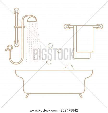 Cute Vector Illustration Of  Bathroom Interior Design: Shower, Bath, Soap Bubbles,  Towel Hanging On