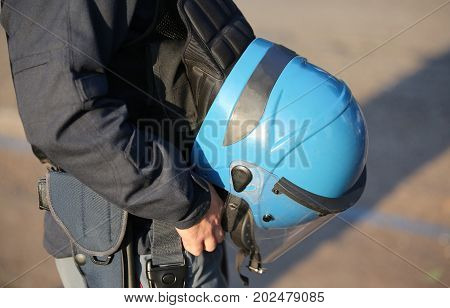 Blue Helmet Of A Policeman