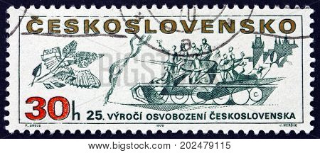 CZECHOSLOVAKIA - CIRCA 1970: a stamp printed in Czechoslovakia shows Russian Tank and Castle 25th Anniversary of the Liberation of Czechoslovakia from the Germans circa 1970