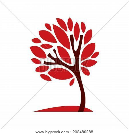 Artistic stylized natural symbol creative tree illustration. Can be used as ecology and environmental conservation concept.
