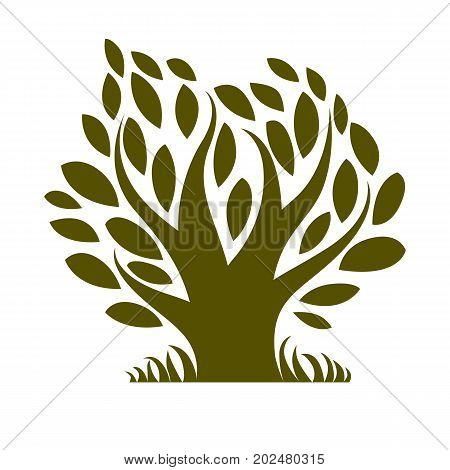 Vector image of single branchy tree nature concept. Art symbolic illustration of plant forest idea.