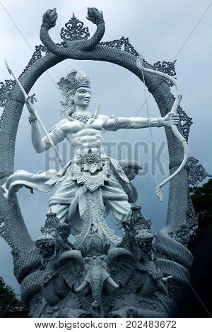 Mahabharata image is Arjuna. This is a statue in the city of Ubud in Bali.