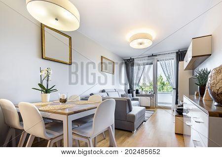 Modern interior design in small apartment .