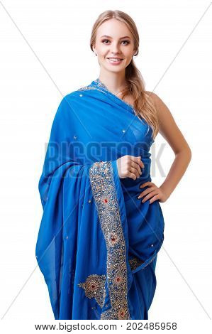 Caucasian Young Woman In Blue Indian National Dress Isolated