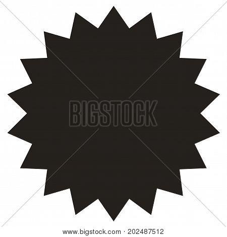 Icon of starburst, sunburst badge,label, sticker. Black on white color. Simple flat style Vintage  design elements. Vector illustration