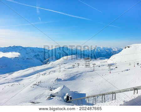 Les Deux Alpes ski resort slopes, mountain panorama aerial view, France, French Alps