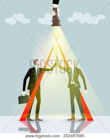 Two successful businessmen with the trophy. Business concept illustration