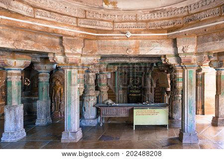 JAISALMER RAJASTHAN INDIA - MARCH 09 2016: Horizontal picture of many pillars and a table inside of Jain Temples in Jaisalmer Fort in India.