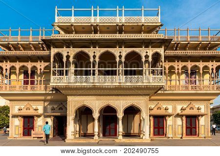 JAIPUR RAJASTHAN INDIA - MARCH 10 2016: Horizontal picture of Mubarak Mahal at City Palace in Jaipur known as pink city of Rajasthan in India.