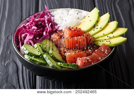 Organic Food: Tuna Poke Bowl With Rice, Fresh Cucumbers, Red Cabbage And Avocado Close-up. Horizonta