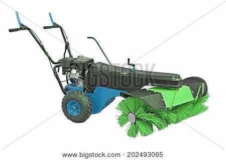 Blue And Green Sweeping Machine Isolated On White Background. Manual Sweeping Machine For Offices An