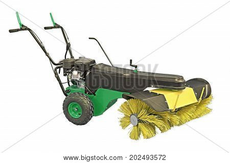 Yellow And Green Sweeping Machine Isolated On White Background. Manual Sweeping Machine For Offices
