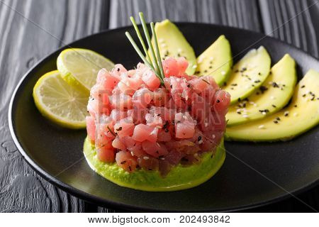 Tartare Of Fresh Raw Tuna With Spices Close-up. Horizontal