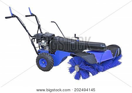 Blue Sweeping Machine Isolated On White Background. Manual Sweeping Machine For Offices And Streets.