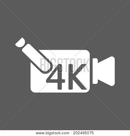 4k ultra hd video recorder icon isolated on background. Eps10 vector illustration