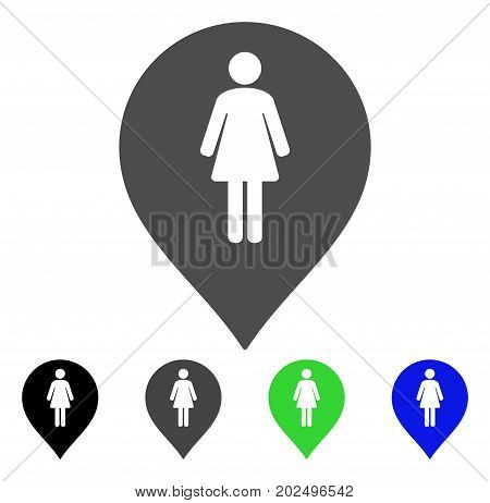 Female Toilet Marker vector pictogram. Style is a flat graphic symbol in black, grey, blue, green color versions. Designed for web and mobile apps.