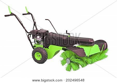 Lime Green Sweeping Machine Isolated On White Background. Manual Sweeping Machine For Offices And St