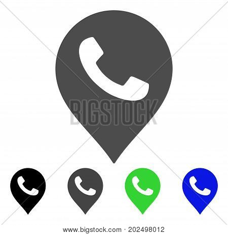 Phone Receiver Marker vector pictogram. Style is a flat graphic symbol in black, gray, blue, green color variants. Designed for web and mobile apps.