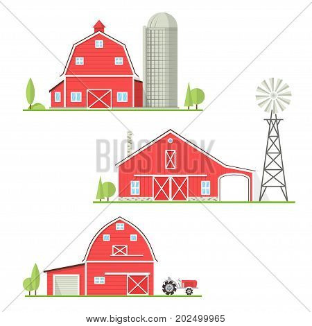 Set of old american farm icon in flat style. For web design and application interface. Vector illustration. Farm house with old tractor, barn, old wind mill or wind pump isolated on white background.