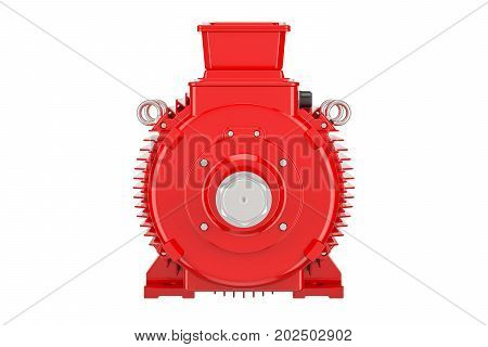 Red industrial electric motor closeup 3D rendering isolated on white background