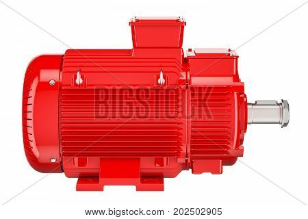 Red industrial electric motor front view 3D rendering isolated on white background