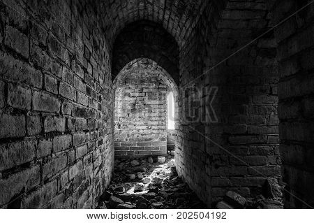 Inside A Tower Of The Great Wall Of China. The Great Wall Of China Is The World's Longest Wall And B