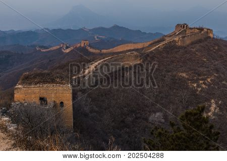 Sunrise At The Great Wall Of China. The Great Wall Of China Is The World's Longest Wall And Biggest
