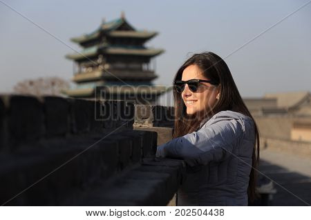 Traveler Girl At The Ancient City Of Ping Yao (unesco World Heritage Site). A Famous Historic Site I