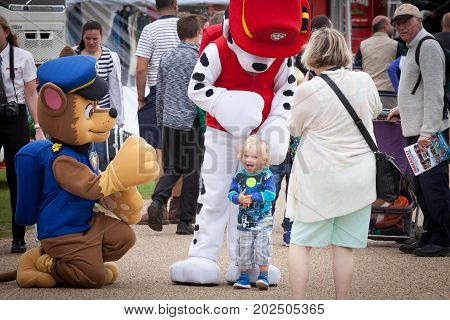 NORFOLK UK - AUGUST 19th 2017: Truckfest Norwich is a transport festival. Mascots Paw Patrol pleasing the young crowd