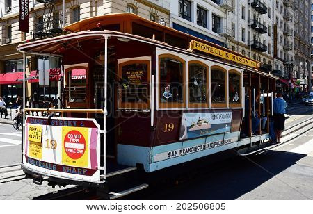 San Francisco; Usa - July 13 2016 : Cable Car In The City Center