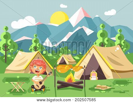 Stock vector illustration cartoon character child boy scout frying meat on open fire and sing songs, play guitar on nature, survival rules, adventure park outdoor background of mountains flat style