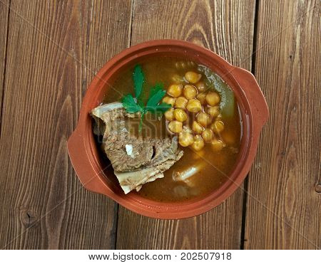 Abgoosht - Persian and Mesopotamian stew.mutton soup thickened with chickpeas