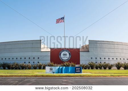 CHULA VISTA, CALIFORNIA - AUGUST 26, 2017:  The rear view of the visitor's center at the Chula Vista Elite Athlete Training Center, built in 1995 to train Olympic and paralympic athletes.