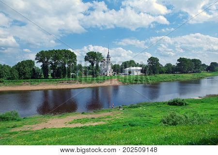 river in the old Russian town Vologda,  russian travel