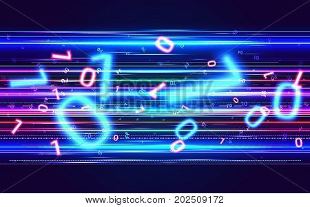 Binary Data Transfer Process. Big Data Stream. Information Technology Abstract Neon Background. High