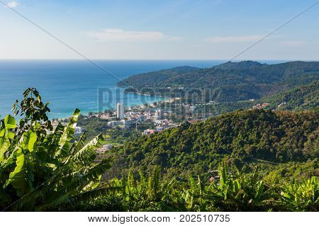 Panoramic View Of The Town Of Patong And Beach. Phuket, Thailand