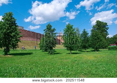 view Veliky Novgorod. Novgorod Kremlin panorama. Russia