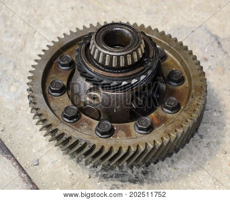 Dismantled Box Car Transmissions. Gear With Bearings. The Gears On The Shaft Of A Mechanical Transmi
