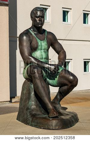 CHULA VISTA, CALIFORNIA - AUGUST 26, 2017:  Statue of Olympic wrestler Wes Barnett, created through a body cast process by artist Willa Shalit at the Chula Vista Elite Athlete Training Center.