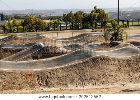 CHULA VISTA, CALIFORNIA - AUGUST 26, 2017:  Moguls of BMX racing track at the Chula Vista Elite Athlete Training Center, a 155-acre facility built in 1995 for Olympic and paralympic athletes.