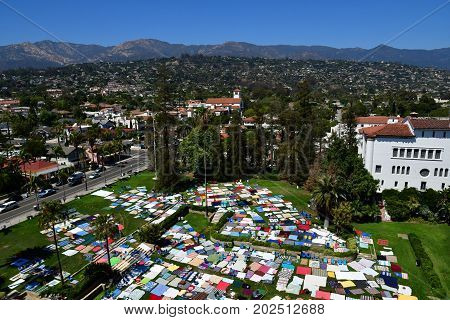 Santa Barbara USA - july 15 2016 : beach towel exhibition near law court