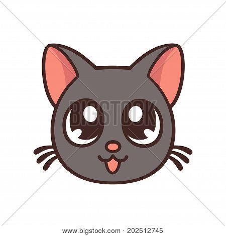 Cute anime cat face funny kawaii illustration.