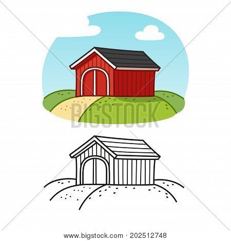Traditional red wooden barn. Colored drawing and line art. Classic American farm building illustration for coloring book.