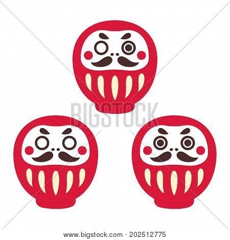 Japanese Daruma doll set of three: one-eyed with both eyes and without. Traditional Zen buddhist good luck holiday gift. Simple vector illustration.