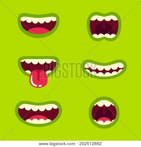 Funny green monster mouth set with different cartoon expressions. Smile with teeth sticking out tongue screaming. Vector illustration.