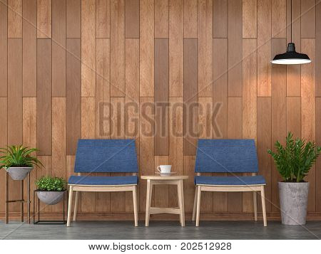 Modern contemporary living room interior 3d rendering image.There are polished concrete floor decorated wall with wood planks .Furnished with blue fabric chair.