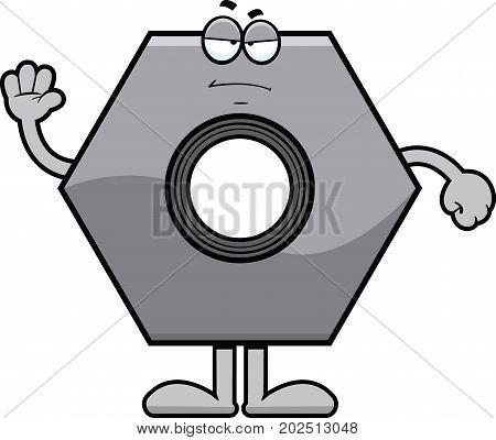 Cartoon illustration of a bolt with a grumpy expression.
