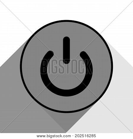 On Off switch sign. Vector. Black icon with two flat gray shadows on white background.