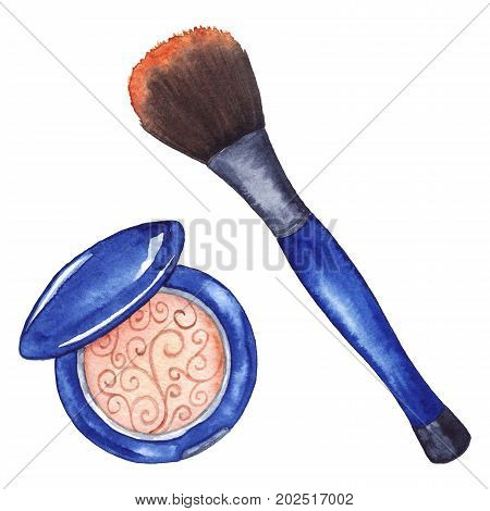 Watercolor women's compact powder blush brush tool cosmetics make up isolated